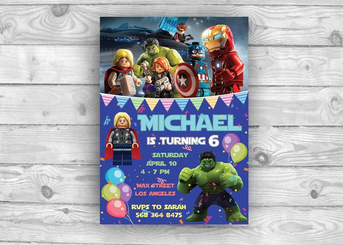 Avengers Birthday Invitation Avenger Party