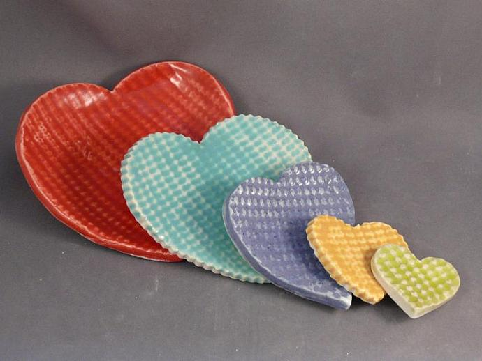 Five Tiny Nesting Hearts - made to order