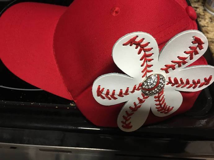 Baseball or Softball hat with  flower, Sports hat