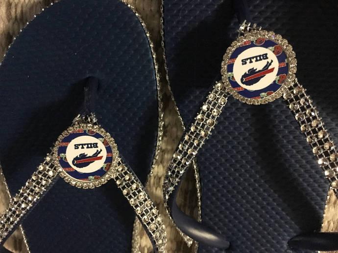 Buffalo bills inspired flip flops
