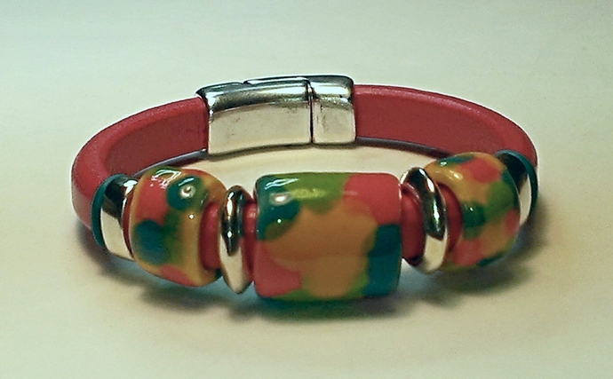Regaliz Greek Leather & Kazuri Bracelet, Item #1498