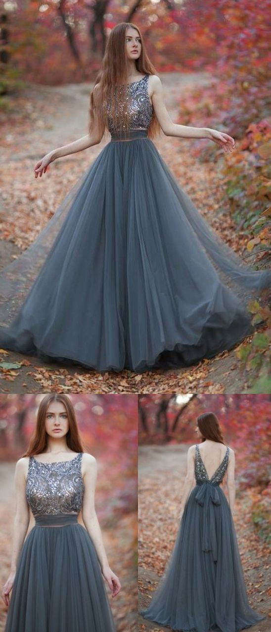 Glorious Evening Prom Dress, Grey Tulle Prom Dress, Round V-back Party Dress