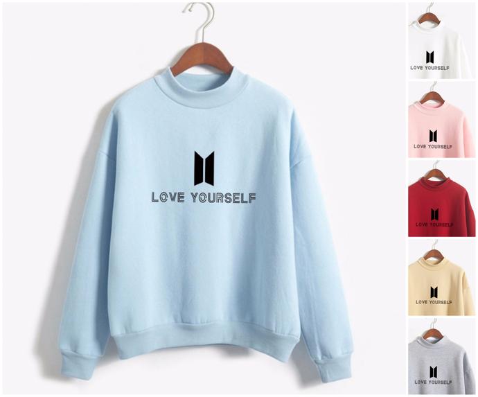 c8767a4ec31 BTS Love yourself Sweatshirt High neck