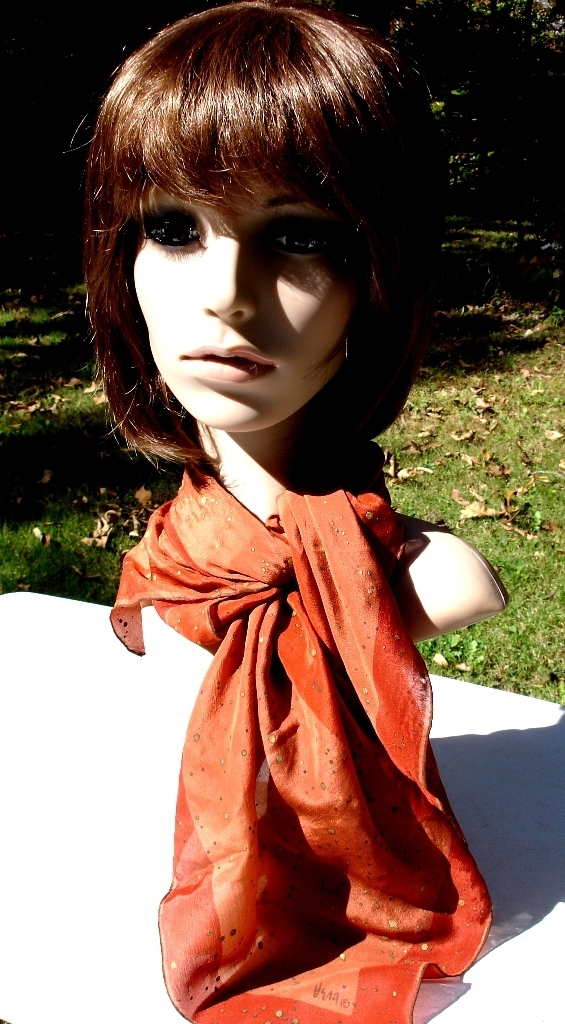 Vera Neumann Castle Scarf In Shades Of Rust With Sparking Gold Flecks,