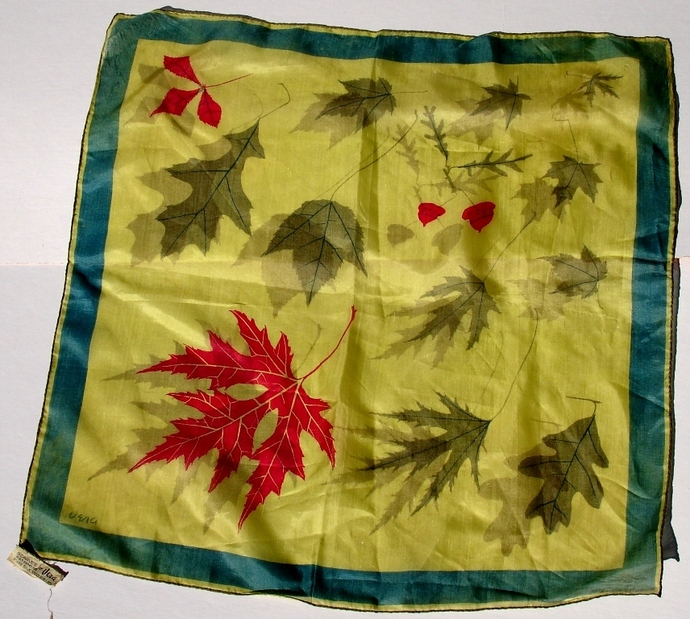 Vera Neumann Falling Leaves In Shades Of Green With Red Leaf And Acorns