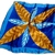 Vera Neumann Shade Of Blue With Gold And Brown Leaves Ladybug Scarf