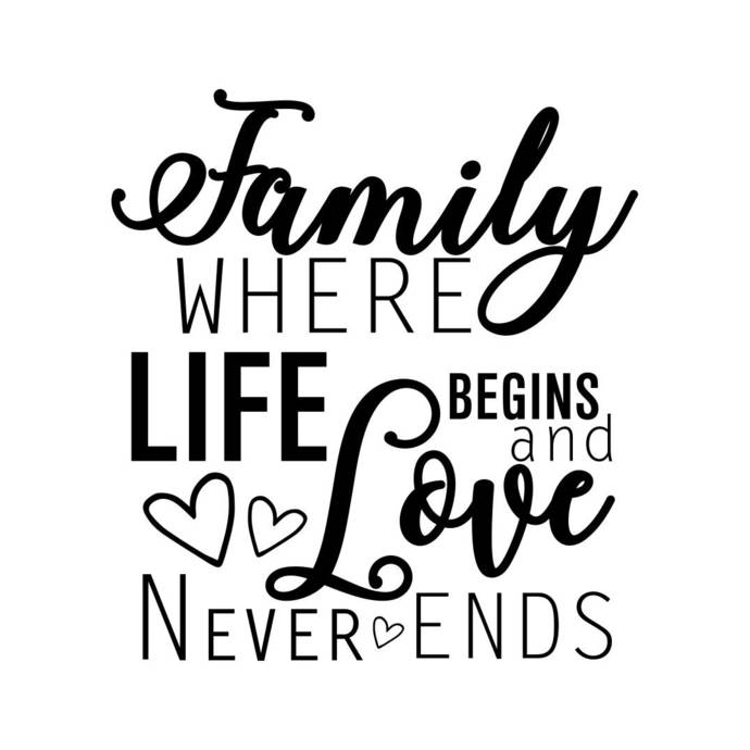 Family where life Begins and Love Never Ends Graphics SVG Dxf EPS Png Cdr Ai Pdf