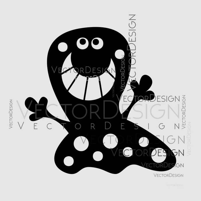 Cartoon Monster v1 Graphics SVG Dxf EPS Png Cdr Ai Pdf Vector Art Clipart