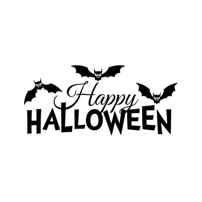 Happy Halloween Bat Phrase Graphics Svg Dxf Vectordesign