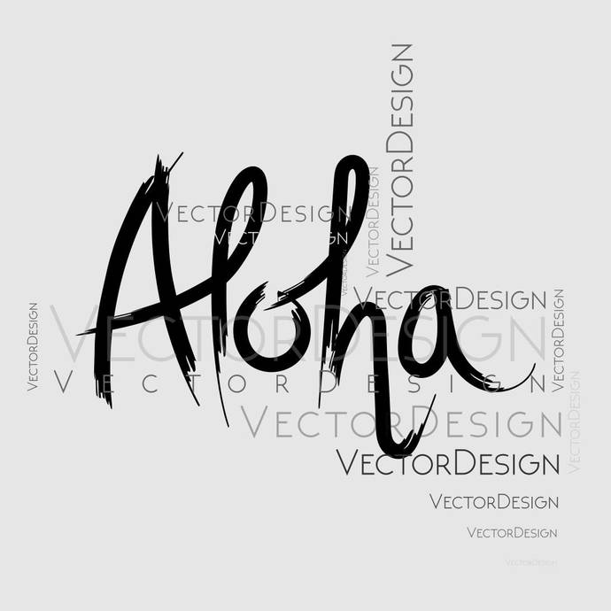 Aloha Sign Graphics SVG Dxf EPS Png Cdr Ai Pdf Vector Art Clipart instant