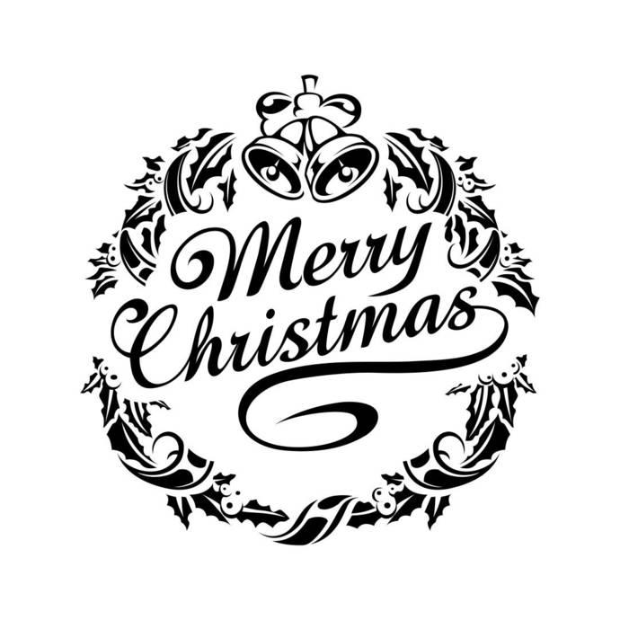 "Merry Christmas - Word Stencil - Elegant Vintage - 8.5"" x 5.5""  Merry Christmas Fractal Art"
