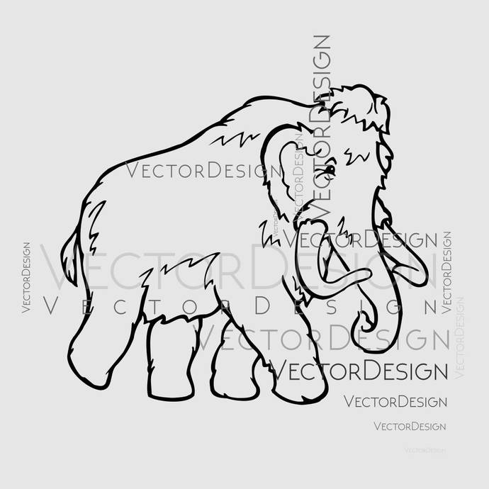 Mammoth Animal SVG EPS Png Pdf Vector Art Clipart instant download Digital Cut