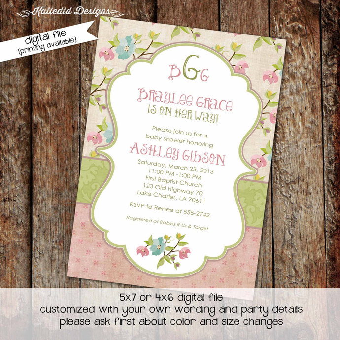 Rustic Baby Girl Shower Invitation Little 1st Birthday Invite Floral Chic