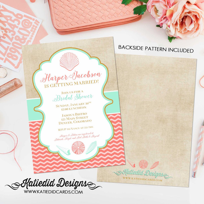 beach bridal shower invitation mint coral invite i do bbq engagement party stock
