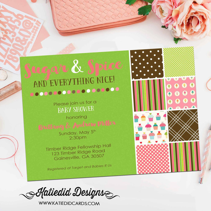 shower with love invitation co-ed baby shower diaper wipe brunch sugar and spice