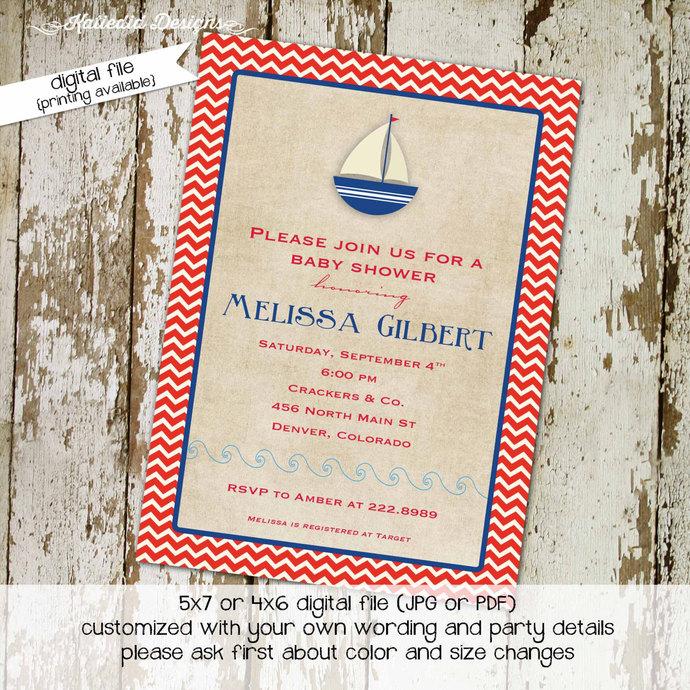 nautical baby shower invitation kraft paper rustic chic boy oh boy invitation