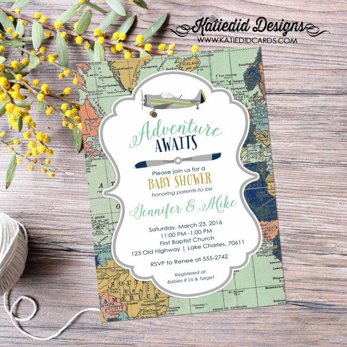 travel baby shower invitation | vintage airplane baby shower | Travel theme |