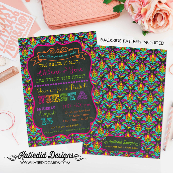 Fiesta bridal shower invitation Couples Bridal Invitation gay day of the dead