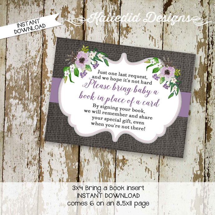 rustic baby girl shower floral chic purple Bring a Book instead of a card