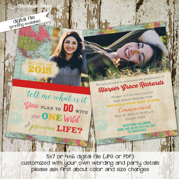Oh The Places Youll Go Graduation Announcement World Map Announcements High School Travel Themed 606 Katiedid Designs