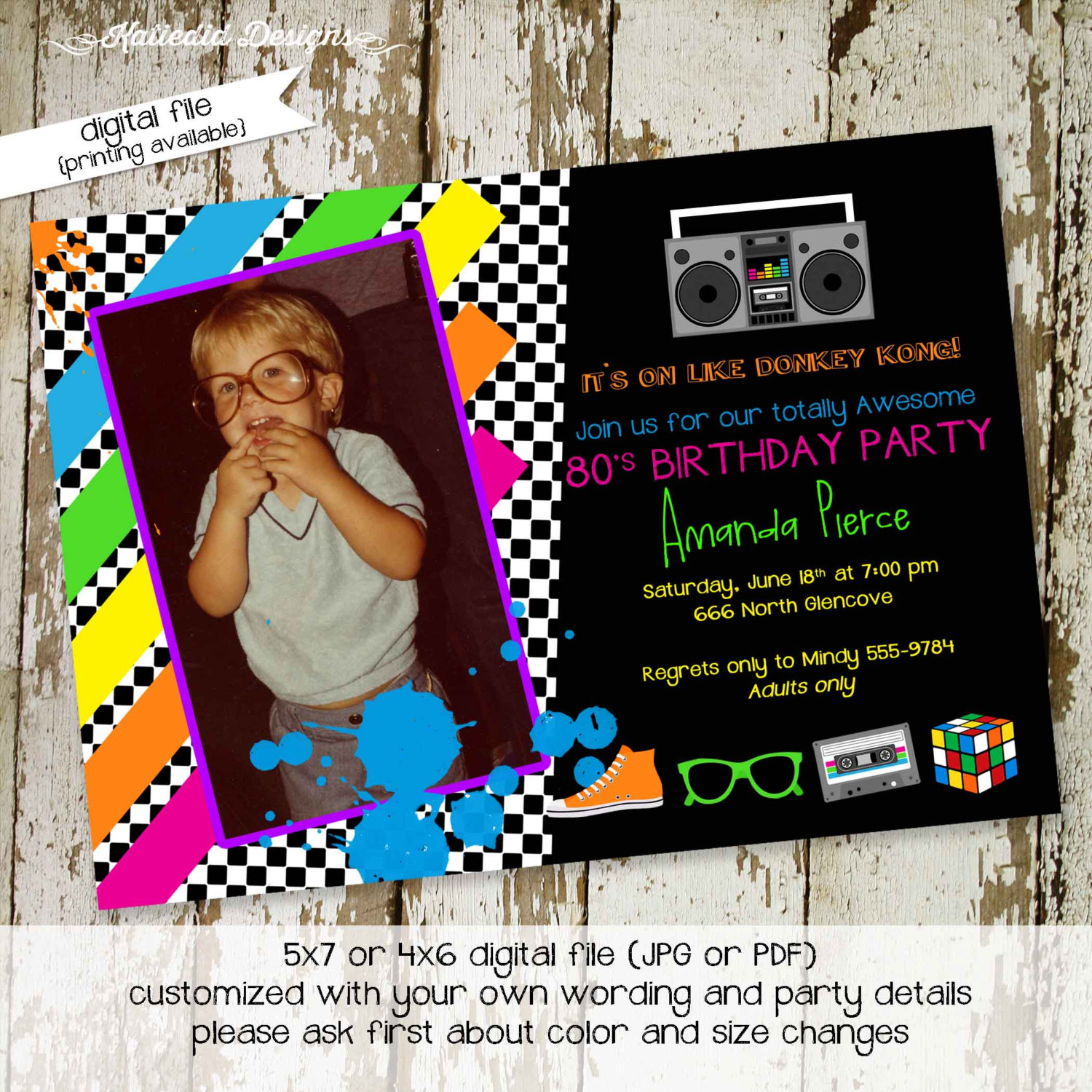 80s party invitation stock the bar by katiedid designs on zibbet