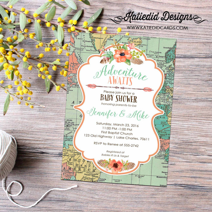 World Map Baby Shower Travel Themed By Katiedid Designs On Zibbet