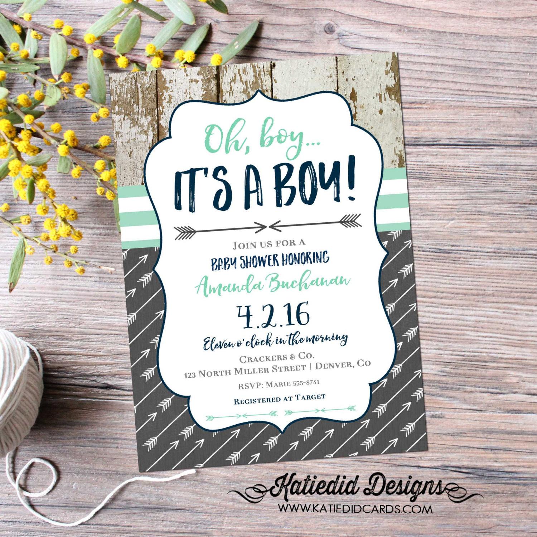 a512b48de3 rustic baby boy shower invitation