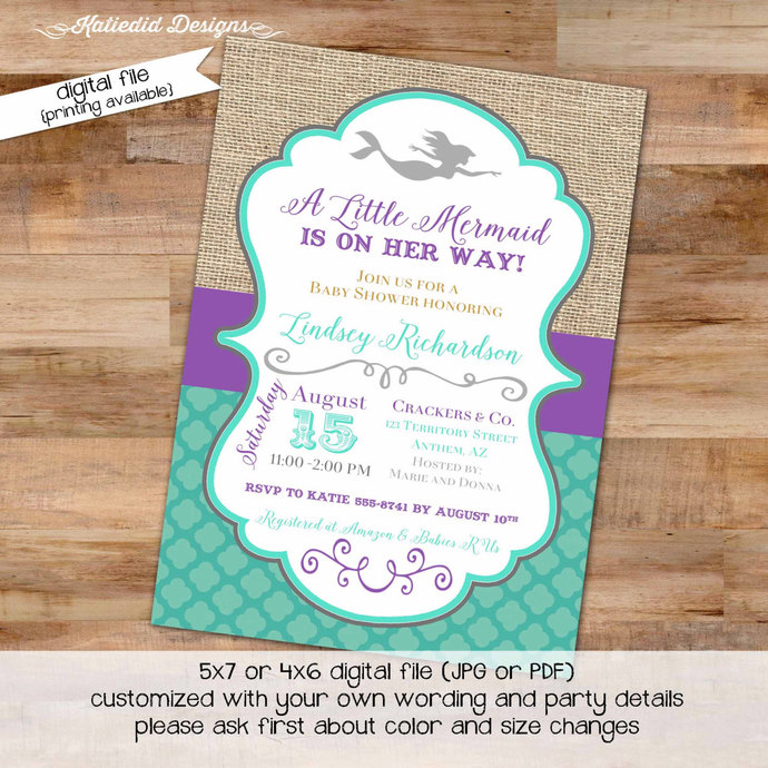 Mermaid Baby Shower Invitation Purple Teal 1st