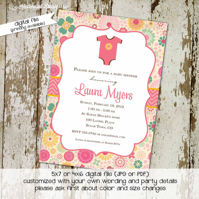 rustic baby girl shower invitation floral chic invite co-ed baby shower diaper