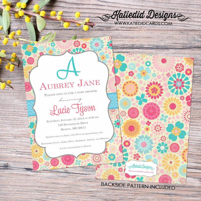 floral baby girl sprinkle invitation sip by katiedid designs on zibbet
