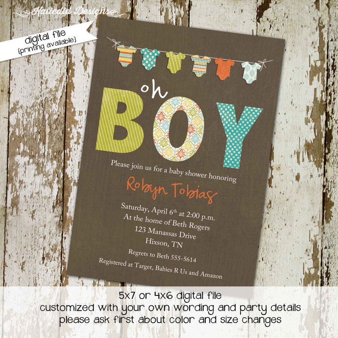 Rustic baby boy shower invitation Boy diaper shower invitation Boy oh boy