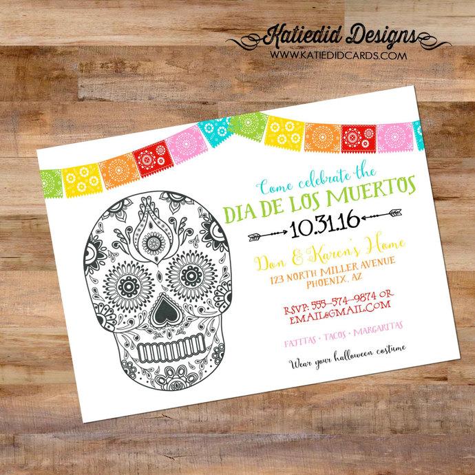 Papel Picado invitation Halloween Sugar Skull Fiesta Bridal Shower day of the