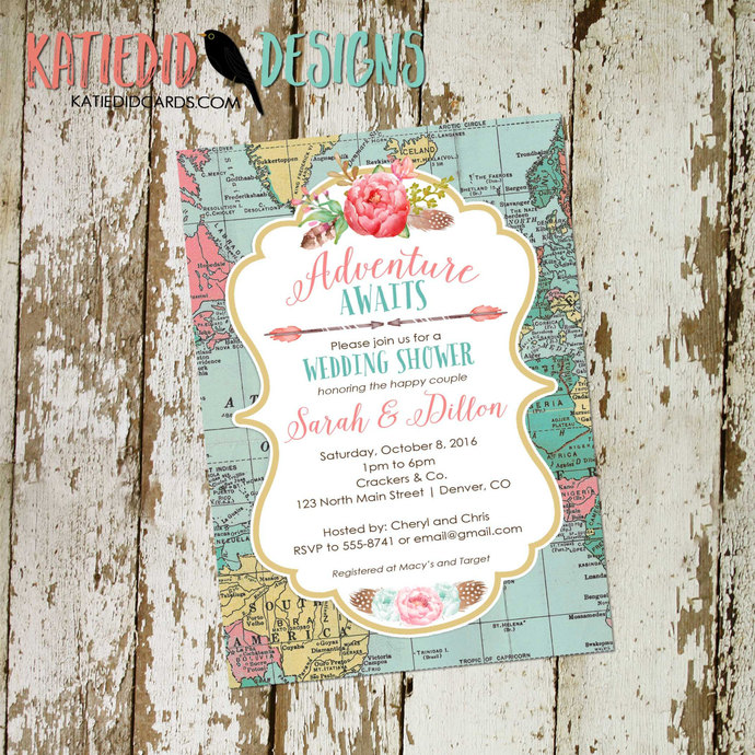 travel theme wedding invitation travel bridal shower traveling from miss to