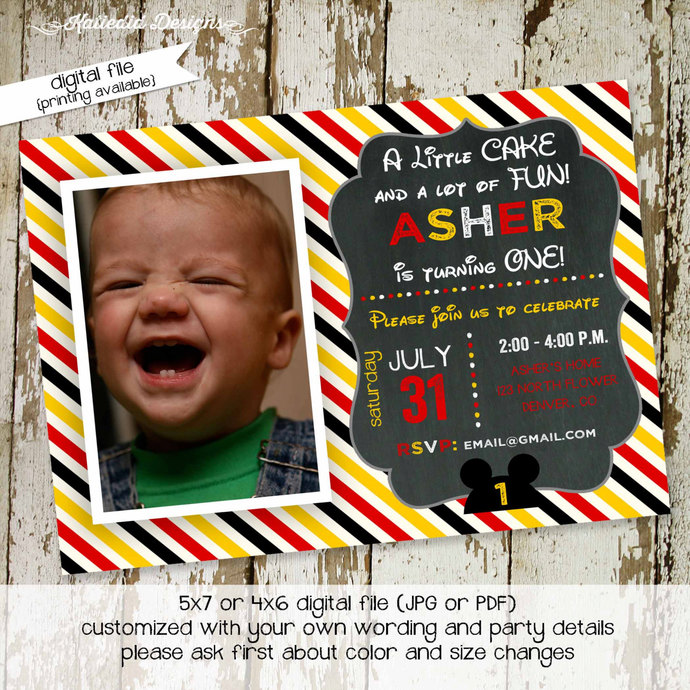 Mickey Mouse Birthday Invitation Little By Katiedid Designs On Zibbet