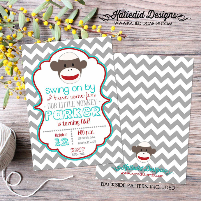 Little Boy 1st Birthday Sock Monkey Co Ed Baby Shower Invitation Red Turquoise Gray Chevron Twins Brother Sister 267 Katiedid Designs