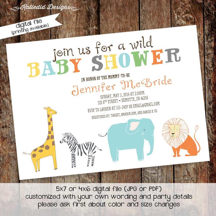 safari baby shower invitation rustic by katiedid designs on zibbet