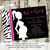 baby girl shower invitation zebra hot pink mother silhouette maternity couples