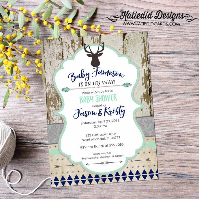 rustic baby boy shower invitation deer boy oh boy tribal arrows invite diaper