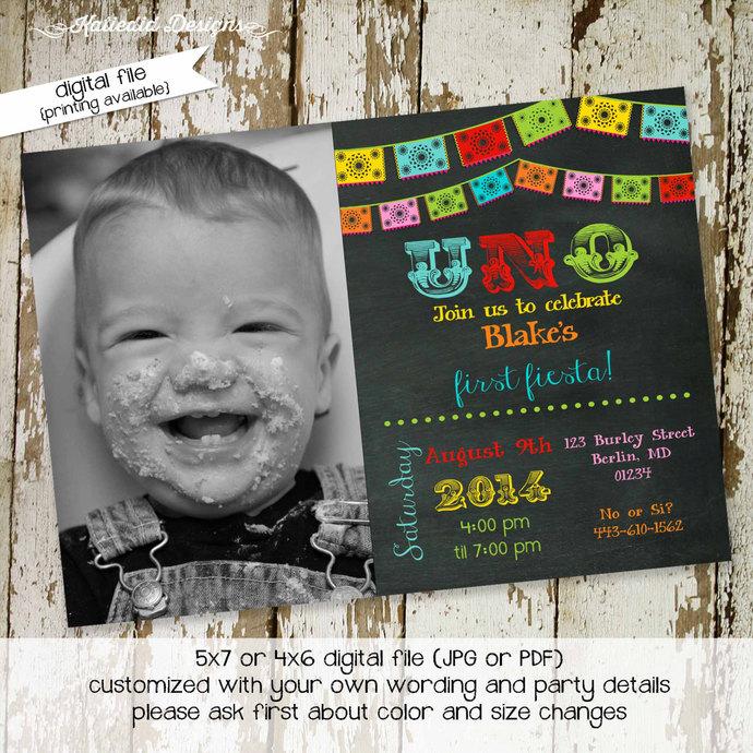 fiesta birthday invitation Papel Picado uno day of the dead cinco de mayo