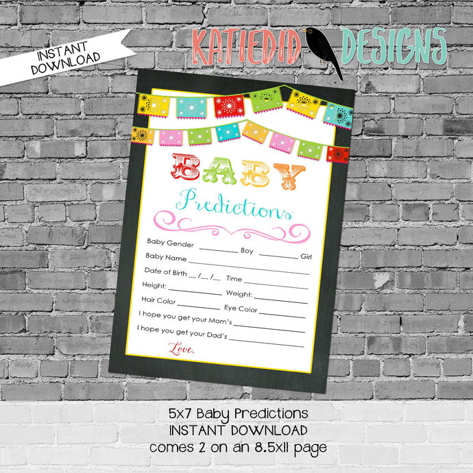 fiesta gender reveal party game baby shower co-ed diaper wipe brunch baby  predictions stats Papel Picado 301 Katiedid Designs