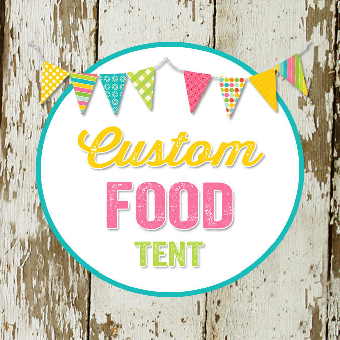 FOOD TENT to match any design for baby shower or party, digital, DIY printable