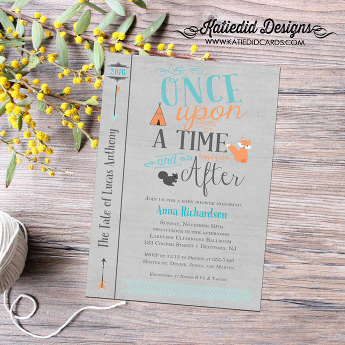 storybook surprise gender reveal once upon a time baby shower woodland animals