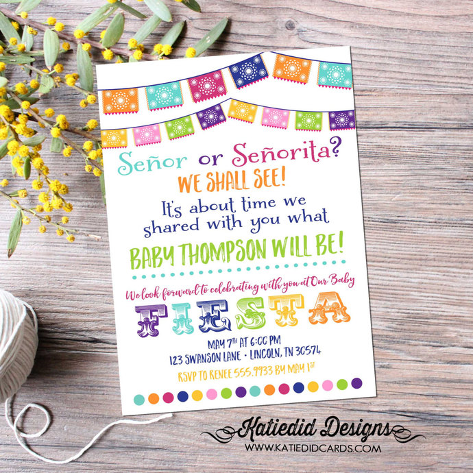 Fiesta baby shower invitation Papel Picado gay couple Bridal Shower day of the