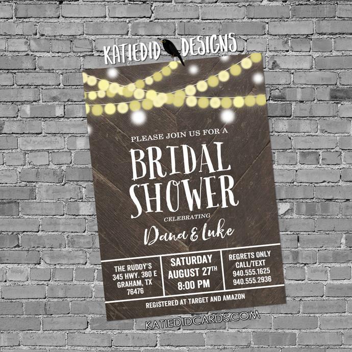 wood string light invitation I do BBQ engagement party Couples Bridal Invitation