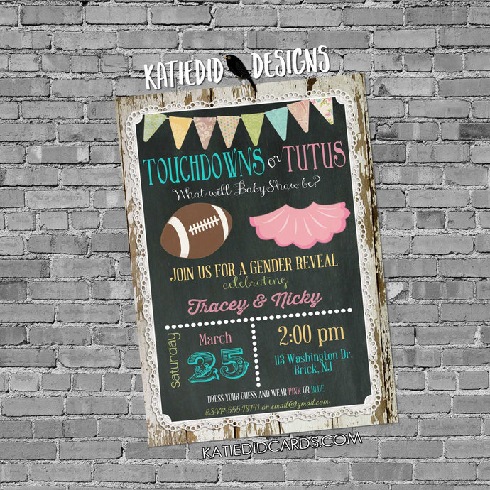 football gender reveal touchdown tutus twins chalkboard lace invite wood lace