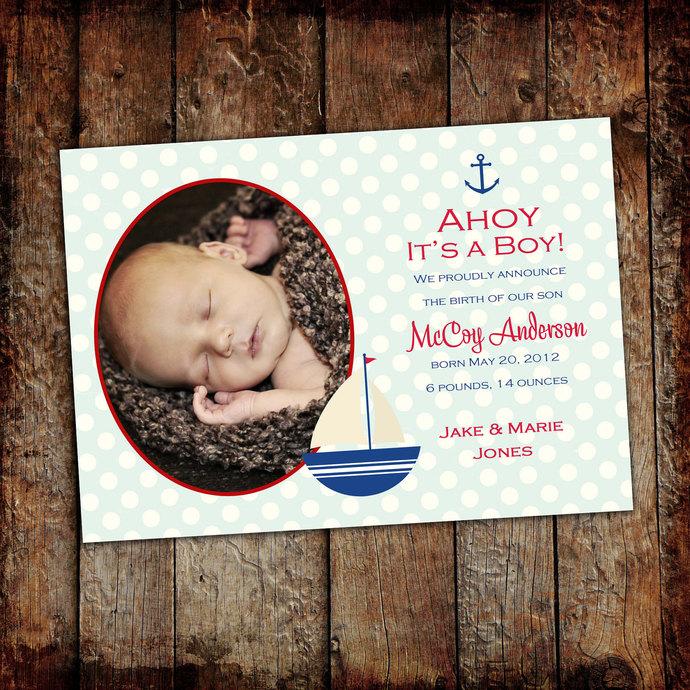 sonogram pregnancy announcement nautical baby shower invitation ahoy it's a boy