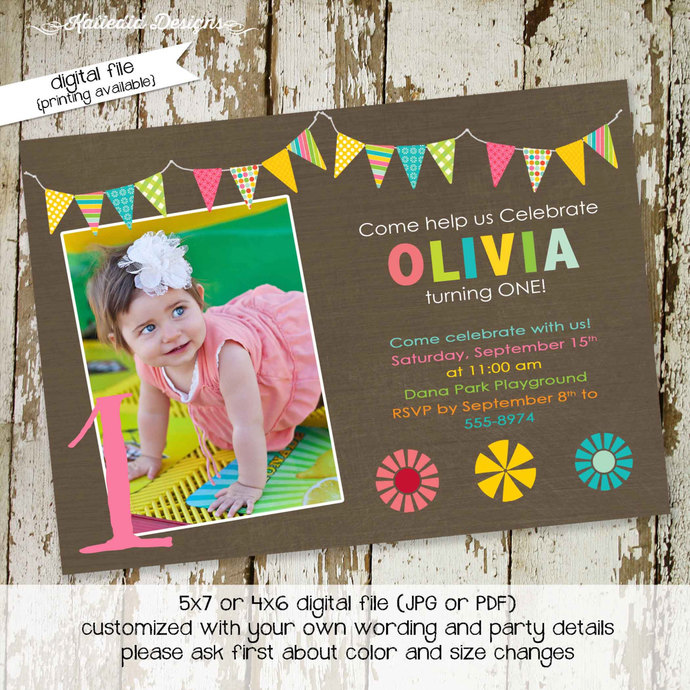 Little Girl 1st Birthday Invitation Sonogram Pregnancy Announcement Floral Chic