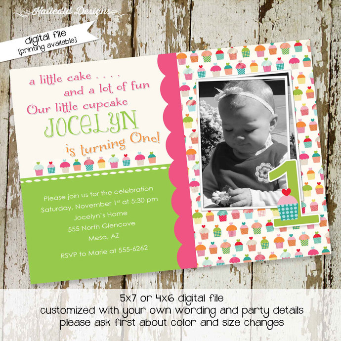 rustic baby girl shower invitation sonogram pregnancy announcement Cupcake theme