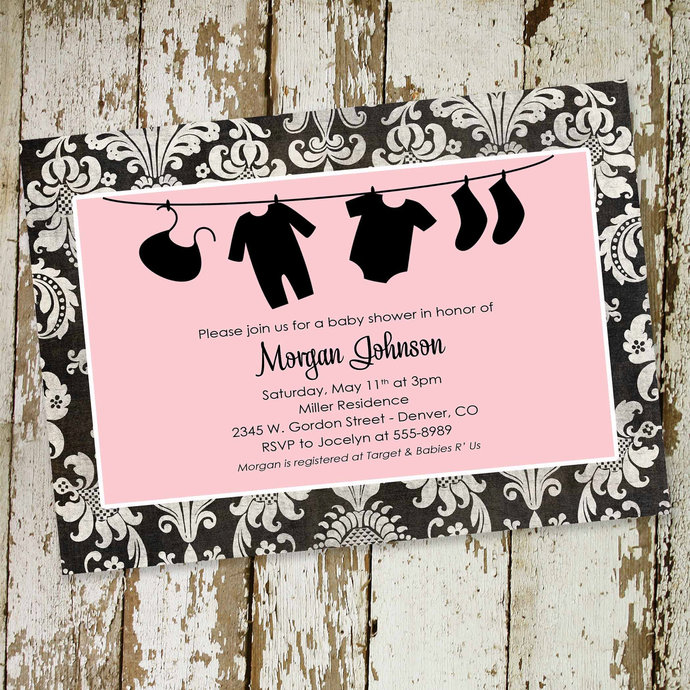 bodysuit bunting banner invitation baby sprinkle invitation girl pastel pink