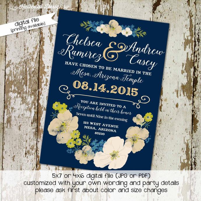 959d110cc6c Couples Bridal Invitation floral chic by Katiedid Designs on Zibbet